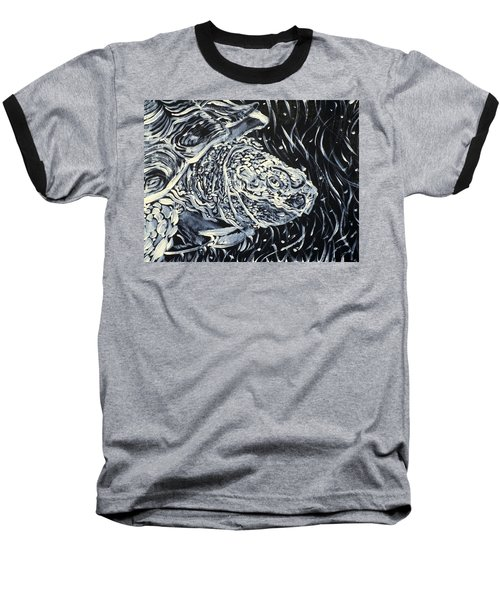 Baseball T-Shirt featuring the painting Portrait Of A Turtle by Fabrizio Cassetta