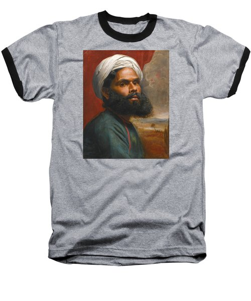 Baseball T-Shirt featuring the painting Portrait Of An Indian Sardar by Edwin Frederick Holt