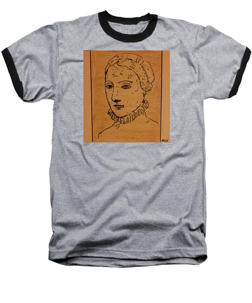 Baseball T-Shirt featuring the drawing Portrait Of Anne by Bill OConnor