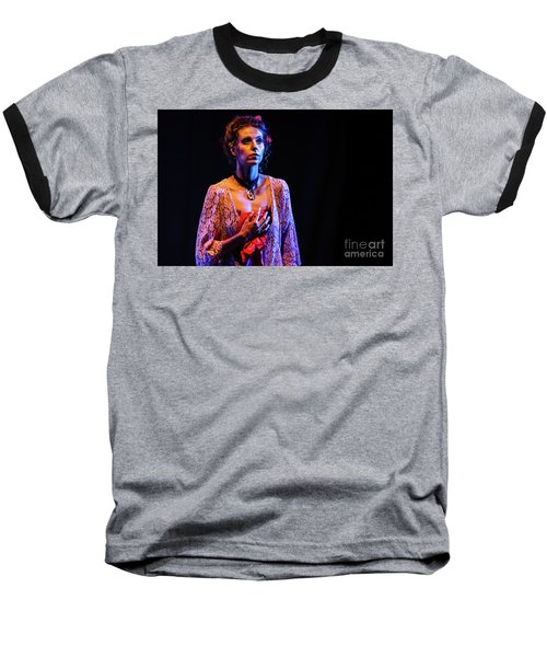 Baseball T-Shirt featuring the photograph Portrait Of Ballet Dancer In Pose On Stage by Dimitar Hristov