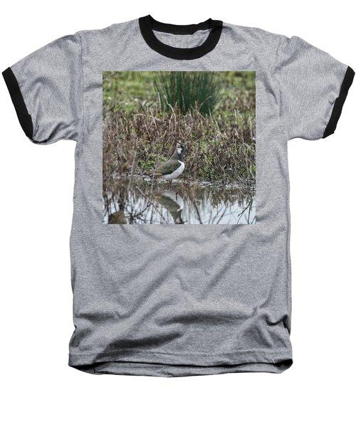 Portrait Of Beautiful Lapwing Bird Seen Through Reeds On Side Of Baseball T-Shirt