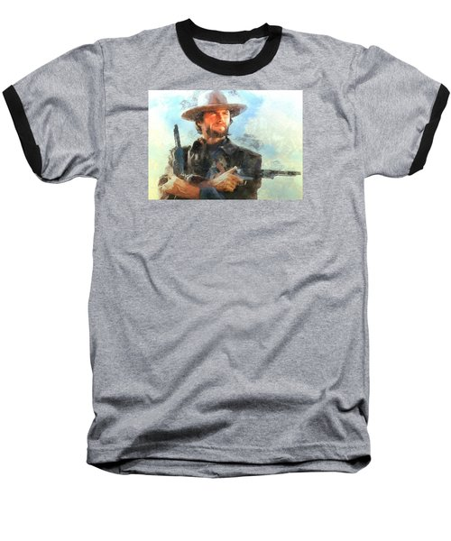 Baseball T-Shirt featuring the digital art Portrait Of Clint Eastwood by Charmaine Zoe