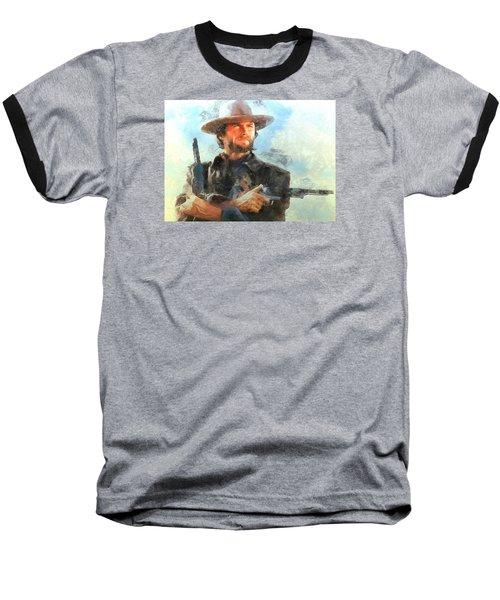 Portrait Of Clint Eastwood Baseball T-Shirt by Charmaine Zoe