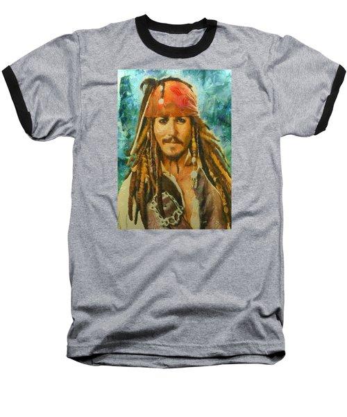 Baseball T-Shirt featuring the digital art Portrait Of Johnny Depp by Charmaine Zoe