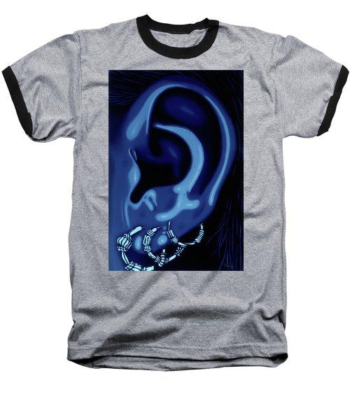 Portrait Of My Ear In Blue Baseball T-Shirt
