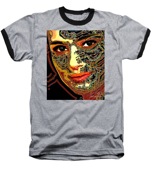 Portrait Of Natalie Portman Baseball T-Shirt by Zedi