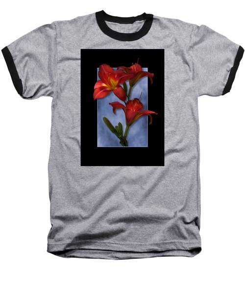 Portrait Of Red Lily Flowers Baseball T-Shirt