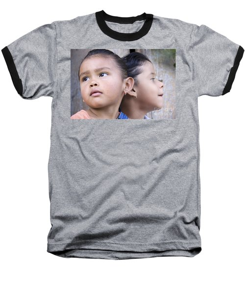 Baseball T-Shirt featuring the photograph Portrait Of Two Panama Girls by Heiko Koehrer-Wagner