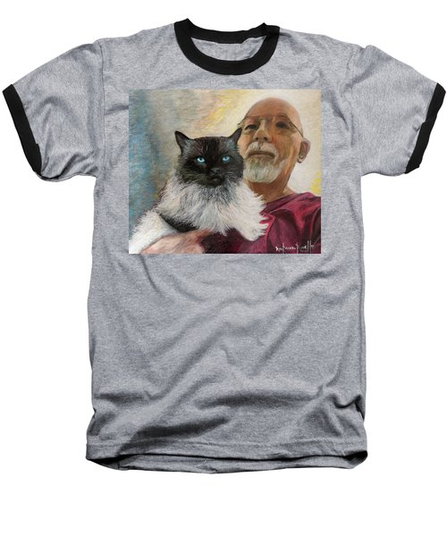 Baseball T-Shirt featuring the painting Portrait Of Veda And Ron by Ron Richard Baviello