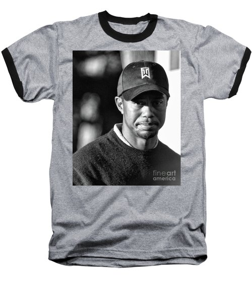 Portrait  Tiger Woods Black White  Baseball T-Shirt