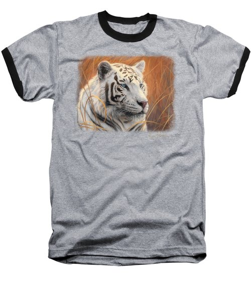 Portrait White Tiger 2 Baseball T-Shirt by Lucie Bilodeau