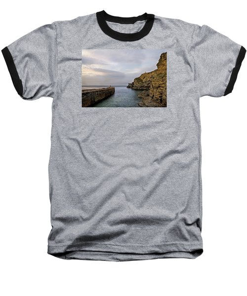 Baseball T-Shirt featuring the photograph Portreath Harbour, Cornwall Uk by Shirley Mitchell