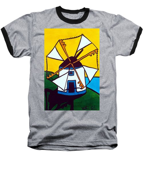 Baseball T-Shirt featuring the painting Portuguese Singing Windmill By Dora Hathazi Mendes by Dora Hathazi Mendes
