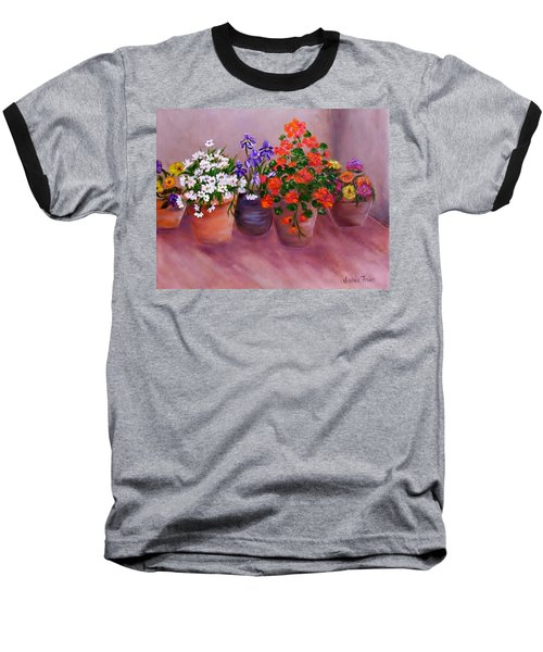 Pots Of Flowers Baseball T-Shirt by Jamie Frier
