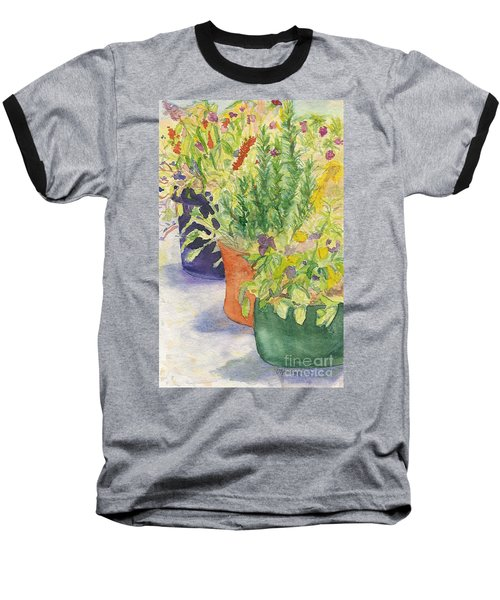 Baseball T-Shirt featuring the painting Potted Beauties  by Vicki  Housel