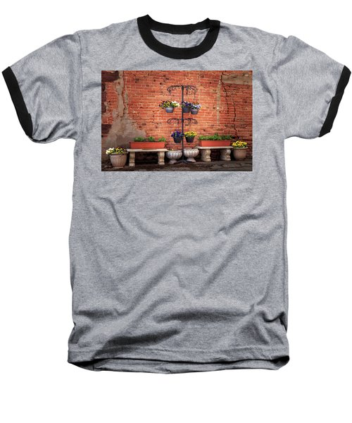 Baseball T-Shirt featuring the photograph Potted Plants And A Brick Wall by James Eddy