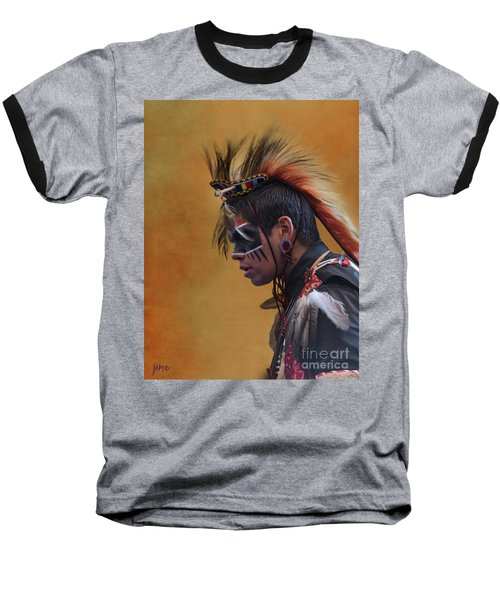 Baseball T-Shirt featuring the mixed media Pow Wow by Jim  Hatch