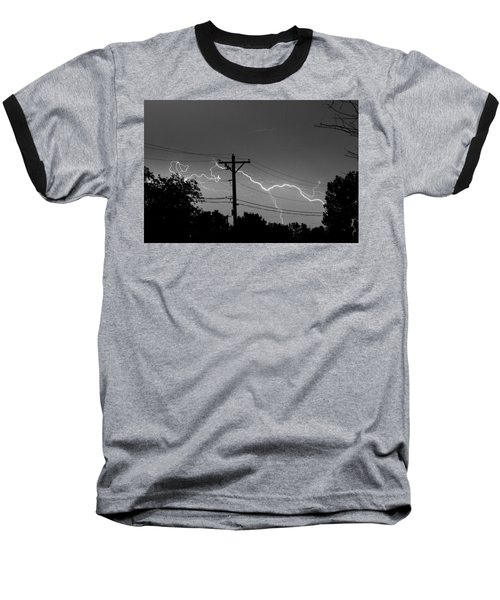 Power Lines Bw Fine Art Photo Print Baseball T-Shirt