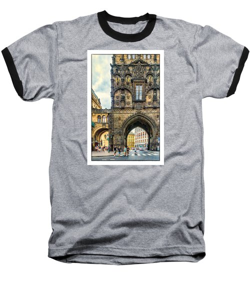 Baseball T-Shirt featuring the photograph Prague Powder Tower  by Janis Knight