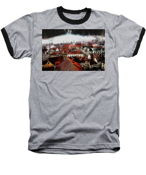 Prague Skyline Baseball T-Shirt by Kai Saarto