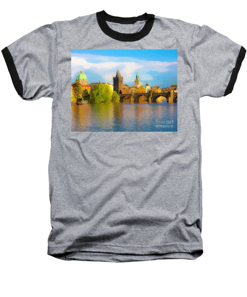 Baseball T-Shirt featuring the photograph Praha - Prague - Illusions by Tom Cameron
