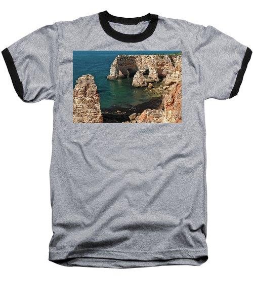 Praia Da Marinha Cliffs And Sea Baseball T-Shirt