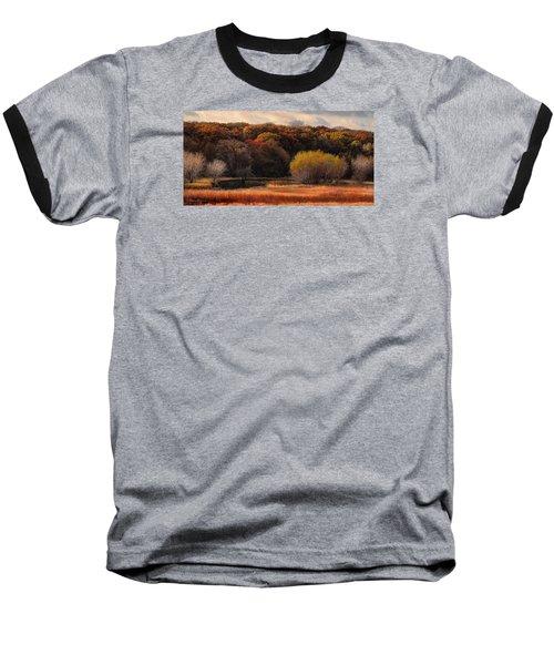Prairie Autumn Stream Baseball T-Shirt by Bruce Morrison