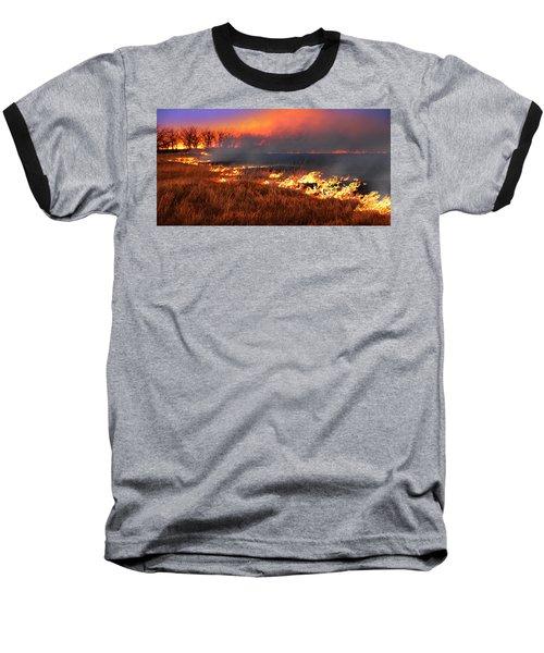 Prairie Burn Baseball T-Shirt by Rod Seel