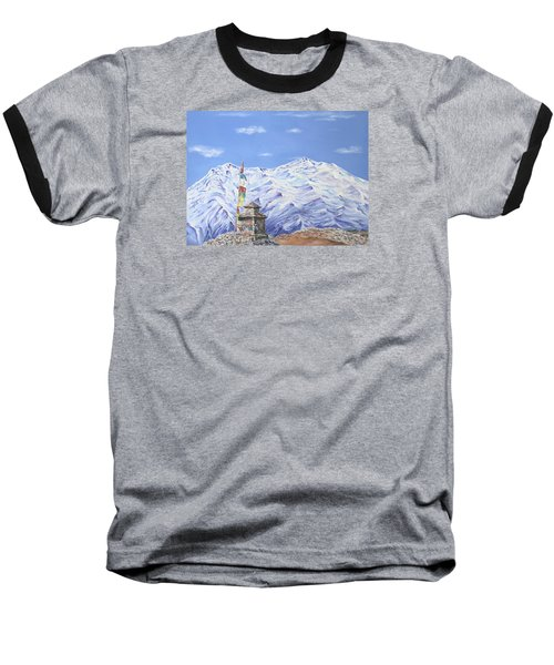Baseball T-Shirt featuring the painting Prayer Flag by Elizabeth Lock