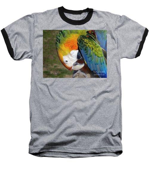 Preening Macaw Baseball T-Shirt by Melissa Messick