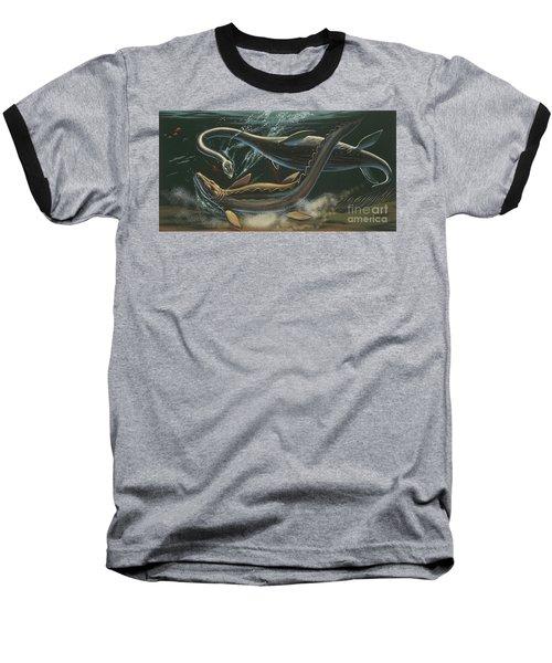 Prehistoric Marine Animals, Underwater View Baseball T-Shirt by American School