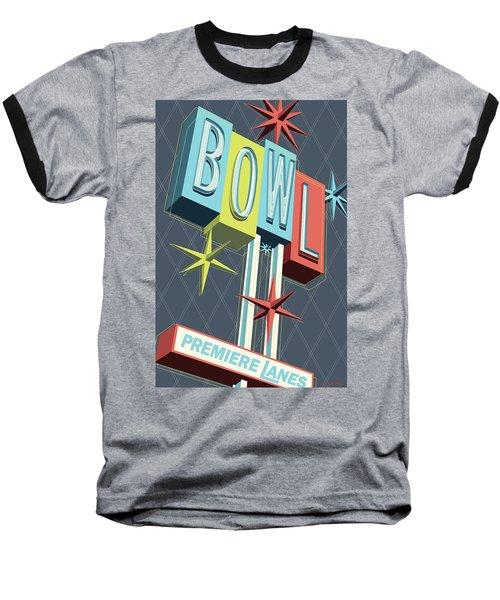 Premiere Lanes Bowling Pop Art Baseball T-Shirt