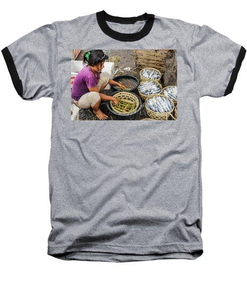 Preparing Pindang Tongkol Baseball T-Shirt by Werner Padarin