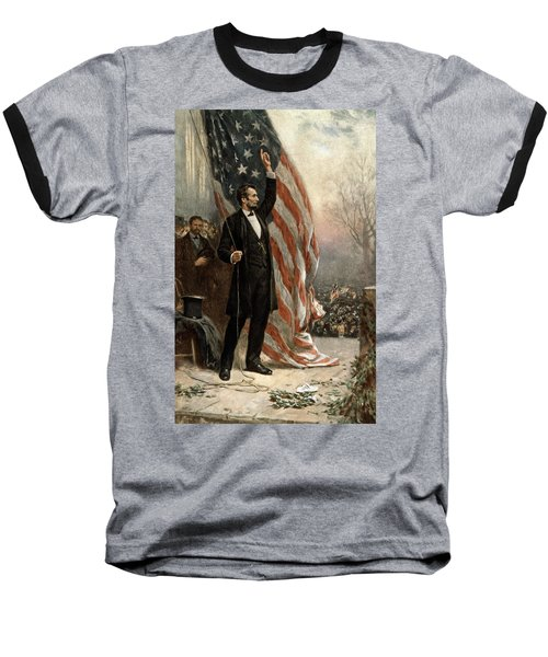 Baseball T-Shirt featuring the photograph President Abraham Lincoln - American Flag by International  Images