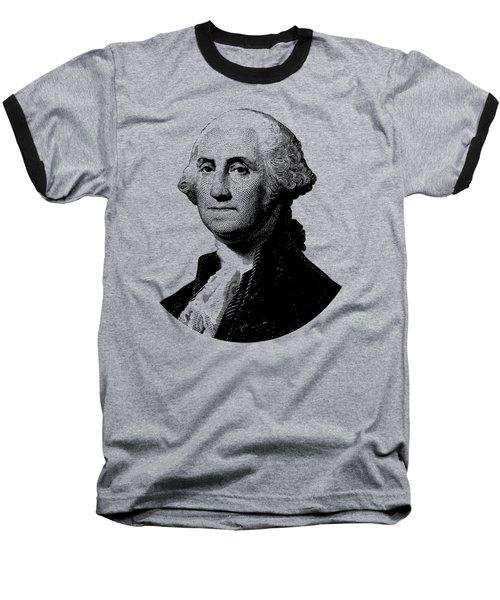 President George Washington Graphic - Black And White Baseball T-Shirt