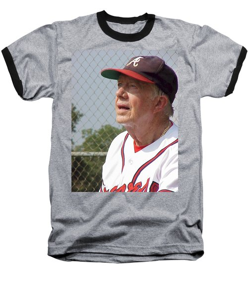 President Jimmy Carter - Atlanta Braves Jersey And Cap Baseball T-Shirt by Jerry Battle