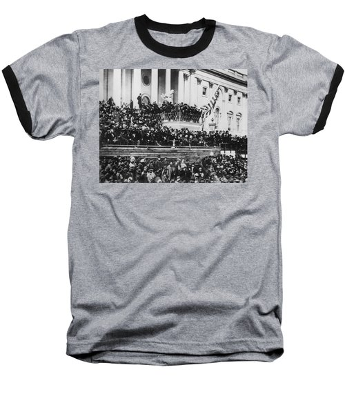 President Lincoln Gives His Second Inaugural Address - March 4 1865 Baseball T-Shirt by International  Images