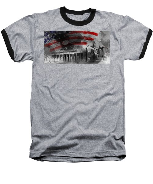 Baseball T-Shirt featuring the painting President Lincoln  by Gull G
