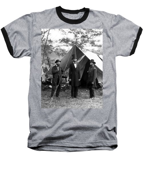 President Lincoln Meets With Generals After Victory At Antietam Baseball T-Shirt by International  Images
