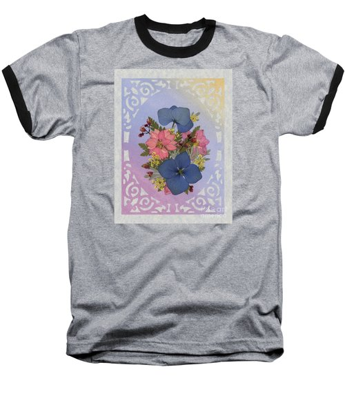 Pressed Flowers Arrangement With Pink Larkspur And Hydrangea Baseball T-Shirt