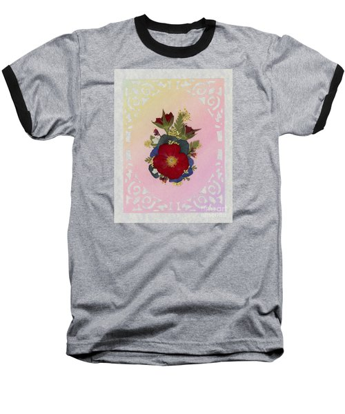 Pressed Flowers Arrangement With Red Roses Baseball T-Shirt