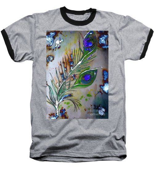Baseball T-Shirt featuring the painting Pretty As A Peacock by Denise Tomasura