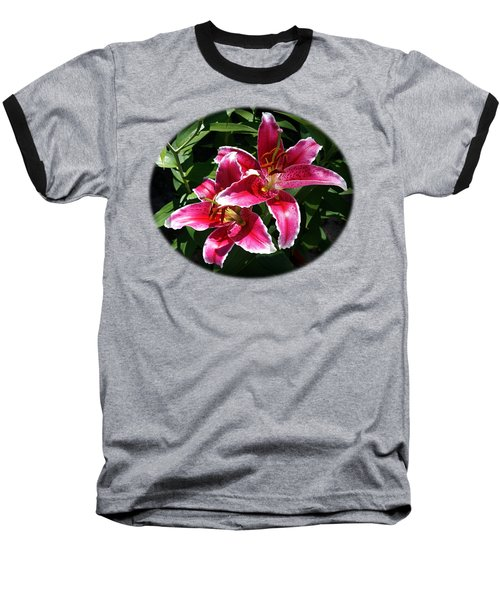 Pretty Lilies Baseball T-Shirt by Nick Kloepping