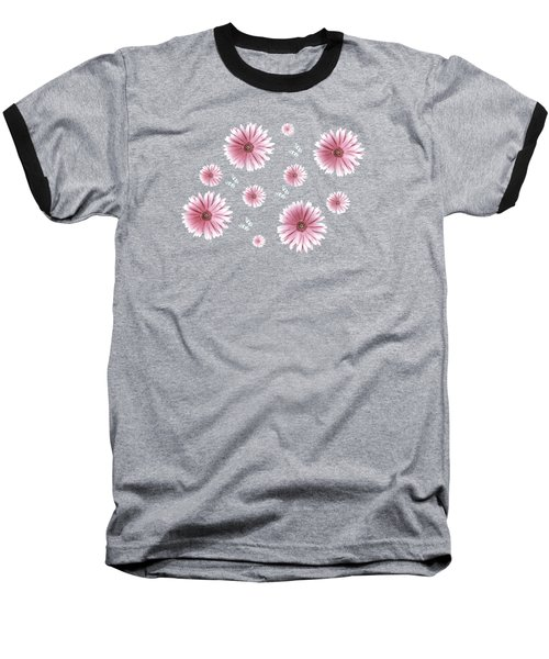 Pretty Pink Flowers On Black Baseball T-Shirt