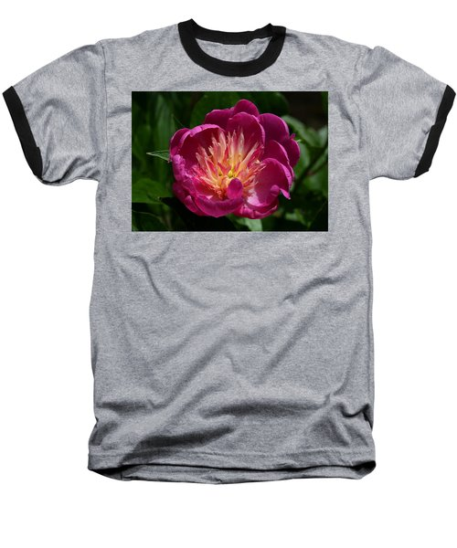 Pretty Pink Peony Flower Baseball T-Shirt