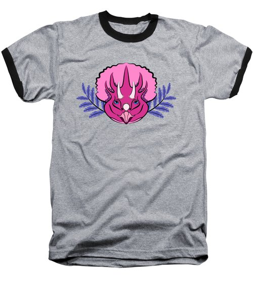 Pretty Pink Triceratops Baseball T-Shirt by MM Anderson