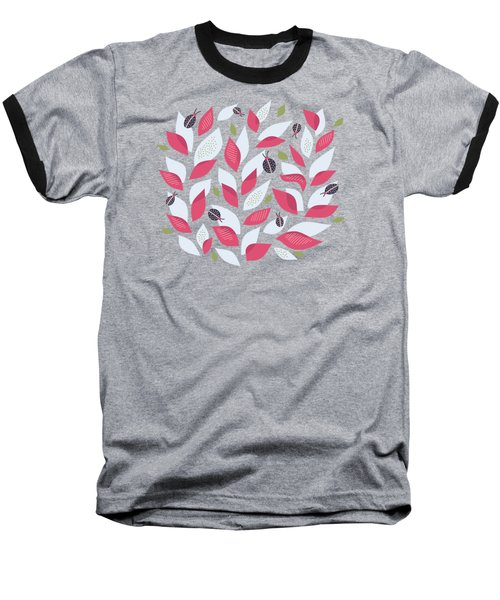 Pretty Plant With White Pink Leaves And Ladybugs Baseball T-Shirt