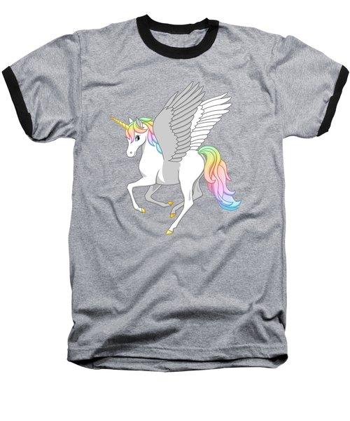 Pretty Rainbow Unicorn Flying Horse Baseball T-Shirt