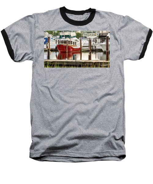 Pretty Red Boat Baseball T-Shirt