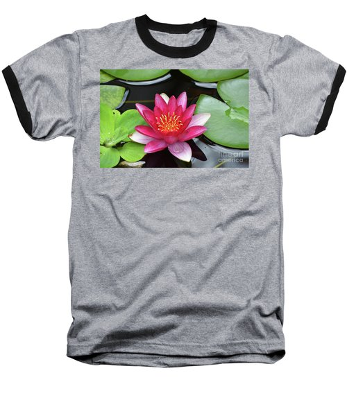 Pretty Red Water Lily Flowering In A Water Garden Baseball T-Shirt